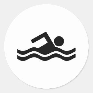 El nadar etiqueta redonda