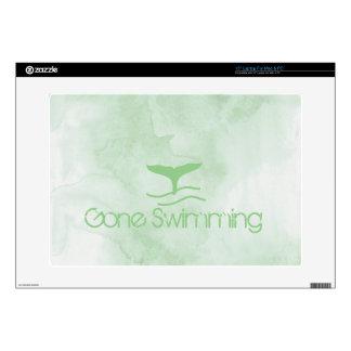 El nadar ido aleta verde de la acuarela portátil skin