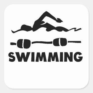 El nadar calcomanía cuadradas