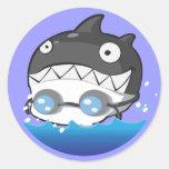El nadar pegatina redonda