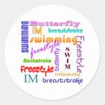 El nadar por todas partes etiqueta redonda