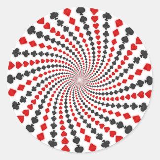 El naipe se adapta a espiral: pegatina redonda