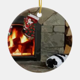El Napping por la chimenea Adorno Navideño Redondo De Cerámica