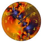 El naranja abstracto del fractal observa encendido reloj de pared