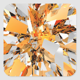 El naranja abstracto forma el racimo pegatina cuadrada