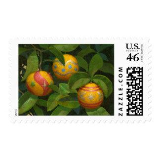 El naranja adorna sellos del navidad