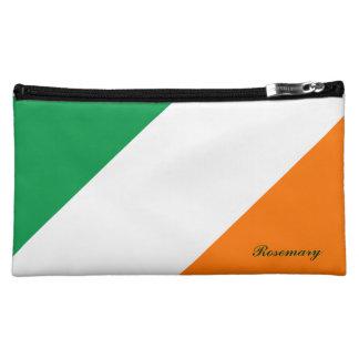 El naranja blanco verde lindo raya el bolso cosmét