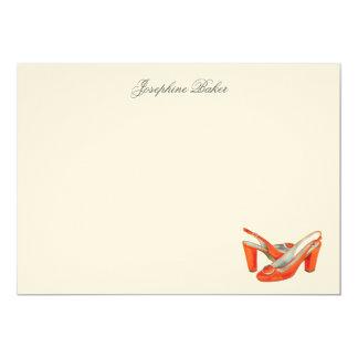 El naranja bombea tarjetas de nota personales invitación 12,7 x 17,8 cm