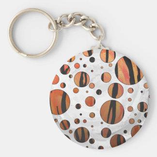 El naranja caliente y el negro del tigre del punto llavero redondo tipo pin