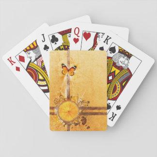 el naranja con remolino del vector de la mariposa cartas de juego