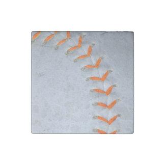 El naranja cose béisbol/softball imán de piedra