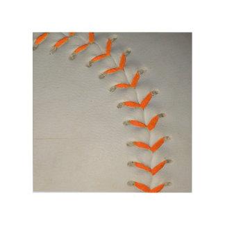 El naranja cose béisbol/softball impresiones en madera