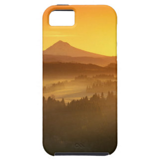 El naranja de la salida del sol colorea la niebla iPhone 5 carcasas