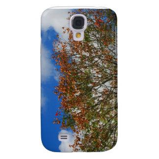 El naranja del cielo azul del árbol florece imagen funda para galaxy s4