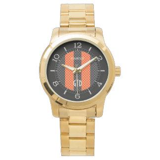 El naranja deportivo personalizado raya estilo del reloj de mano