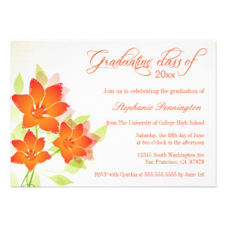 El naranja elegante florece la invitación de la fi