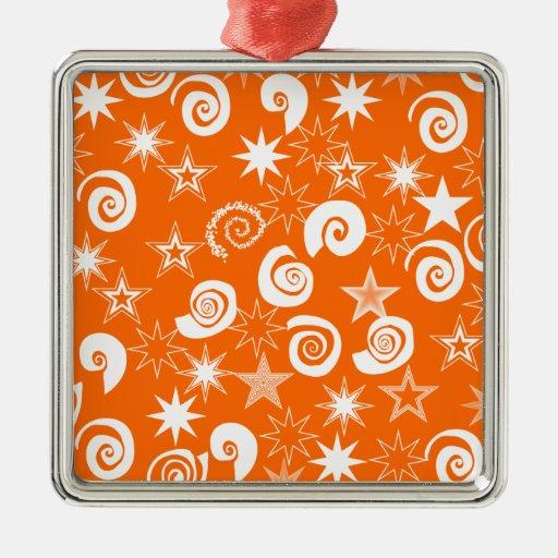 El naranja enrrollado protagoniza y remolina los adorno cuadrado plateado