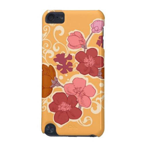 El naranja florece la caja del iphone