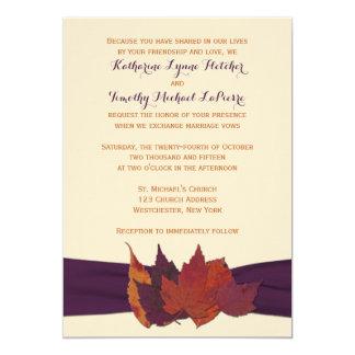 """El naranja, marfil, púrpura secó las hojas que el invitación 5"""" x 7"""""""