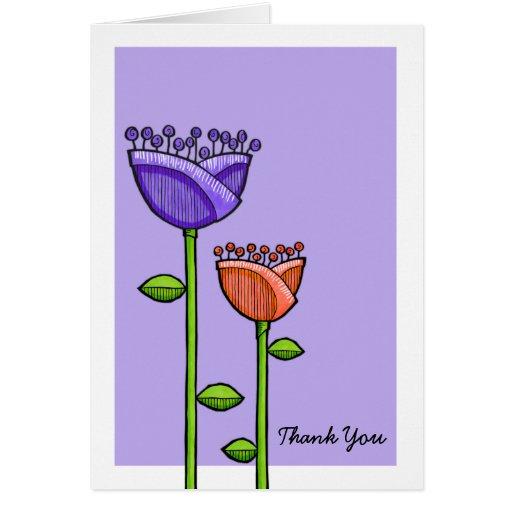 El naranja púrpura de las flores del Doodle de la Tarjeta Pequeña