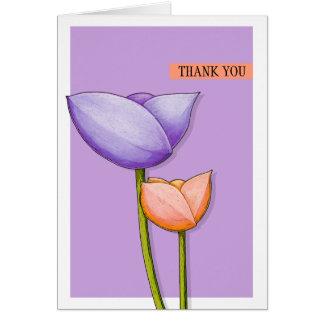 El naranja púrpura de las flores simples le tarjeta pequeña