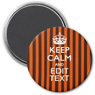 El naranja quemado personaliza esto guarda acento imán redondo 7 cm