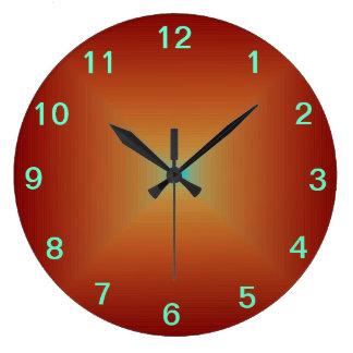El naranja quemado profundo llano >Kitchen los Reloj Redondo Grande