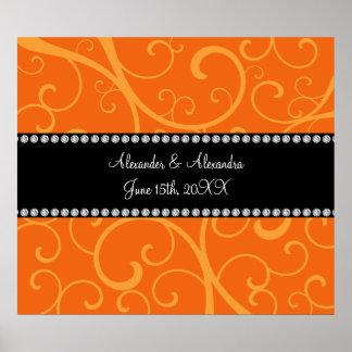 El naranja remolina los favores del boda póster