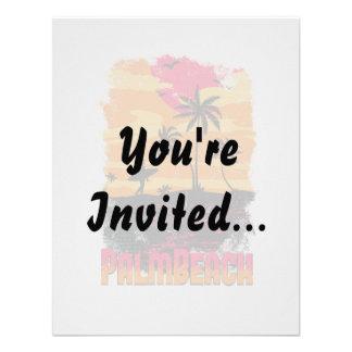 El naranja rosado de las palmeras de la persona qu invitaciones personalizada