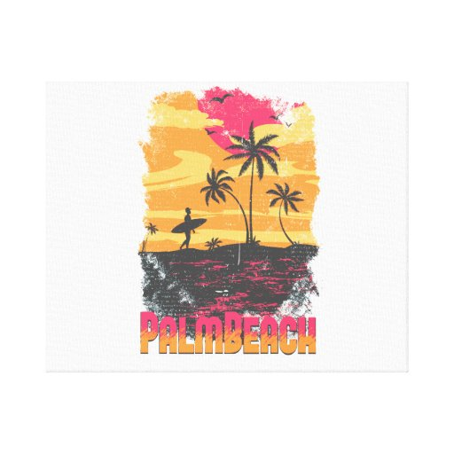 El naranja rosado de las palmeras de la persona qu impresión en lona