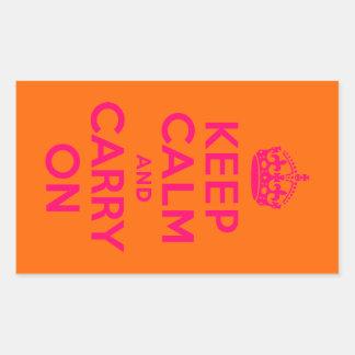 El naranja rosado guarda calma y continúa pegatina rectangular