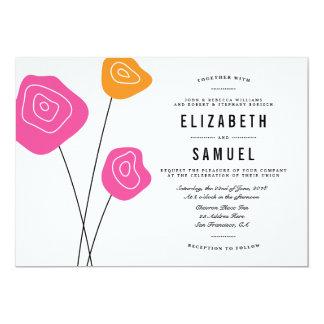 El naranja rosado moderno florece el boda blanco comunicado