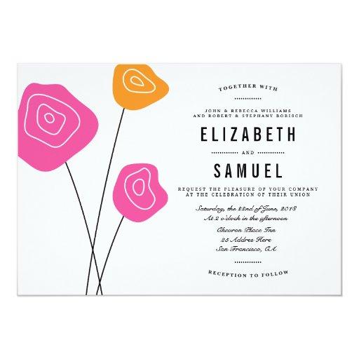 """El naranja rosado moderno florece el boda blanco invitación 5"""" x 7"""""""
