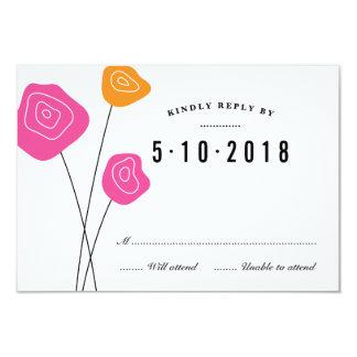 El naranja rosado moderno florece la tarjeta invitación 8,9 x 12,7 cm