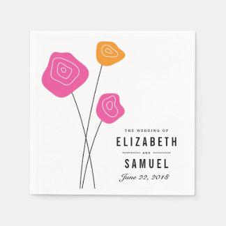 El naranja rosado moderno florece las servilletas servilleta de papel