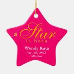 El naranja rosado una estrella es invitación nacid ornaments para arbol de navidad