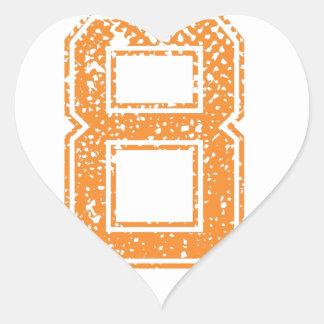 El naranja se divierte el número 08.png de Jerzee Pegatina En Forma De Corazón