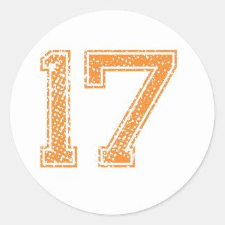 El naranja se divierte el número 17.png de Jerzee Pegatina Redonda
