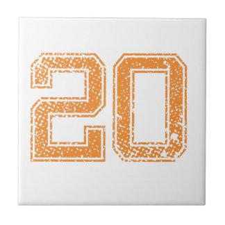 El naranja se divierte el número 20.png de Jerzee Azulejo Cuadrado Pequeño