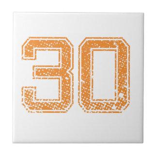 El naranja se divierte el número 30.png de Jerzee Azulejo Cuadrado Pequeño