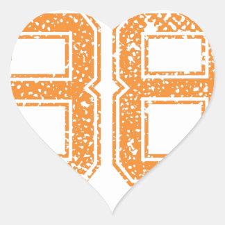 El naranja se divierte el número 38.png de Jerzee Pegatina En Forma De Corazón