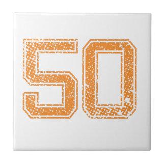El naranja se divierte el número 50.png de Jerzee Azulejo Cuadrado Pequeño