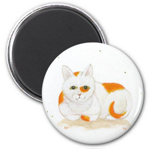 El naranja y el blanco mancharon arte lindo de la imán redondo 5 cm