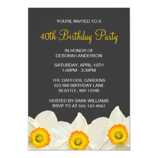 """El narciso amarillo y gris florece a la fiesta de invitación 5"""" x 7"""""""