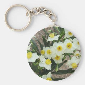 El narciso blanco florece llavero