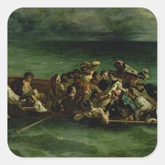 El naufragio de Don Juan, 1840 Pegatina Cuadrada
