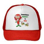 El navidad a veces travieso es Niza - rojo castaño Gorros Bordados
