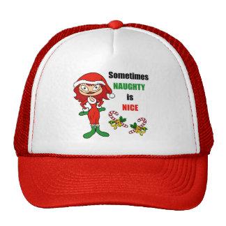 El navidad a veces travieso es Niza - rojo castaño Gorras