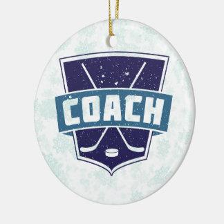 El navidad adorna, coche de hockey adorno redondo de cerámica