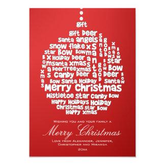 El navidad adorna el arte blanco de la palabra en invitacion personal